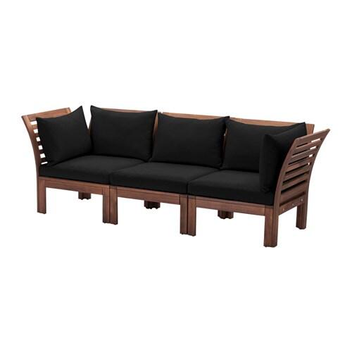 pplar 3 zits modulaire bank buiten bruin gelazuurd h ll zwart ikea. Black Bedroom Furniture Sets. Home Design Ideas