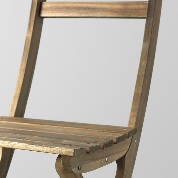 ASKHOLMEN tafel v wand+2 klapstoelen, buiten grijsbruin gelazuurd