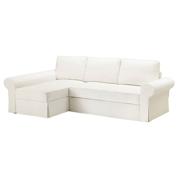 BACKABRO Hoes slaapbank met chaise longue, Hylte wit