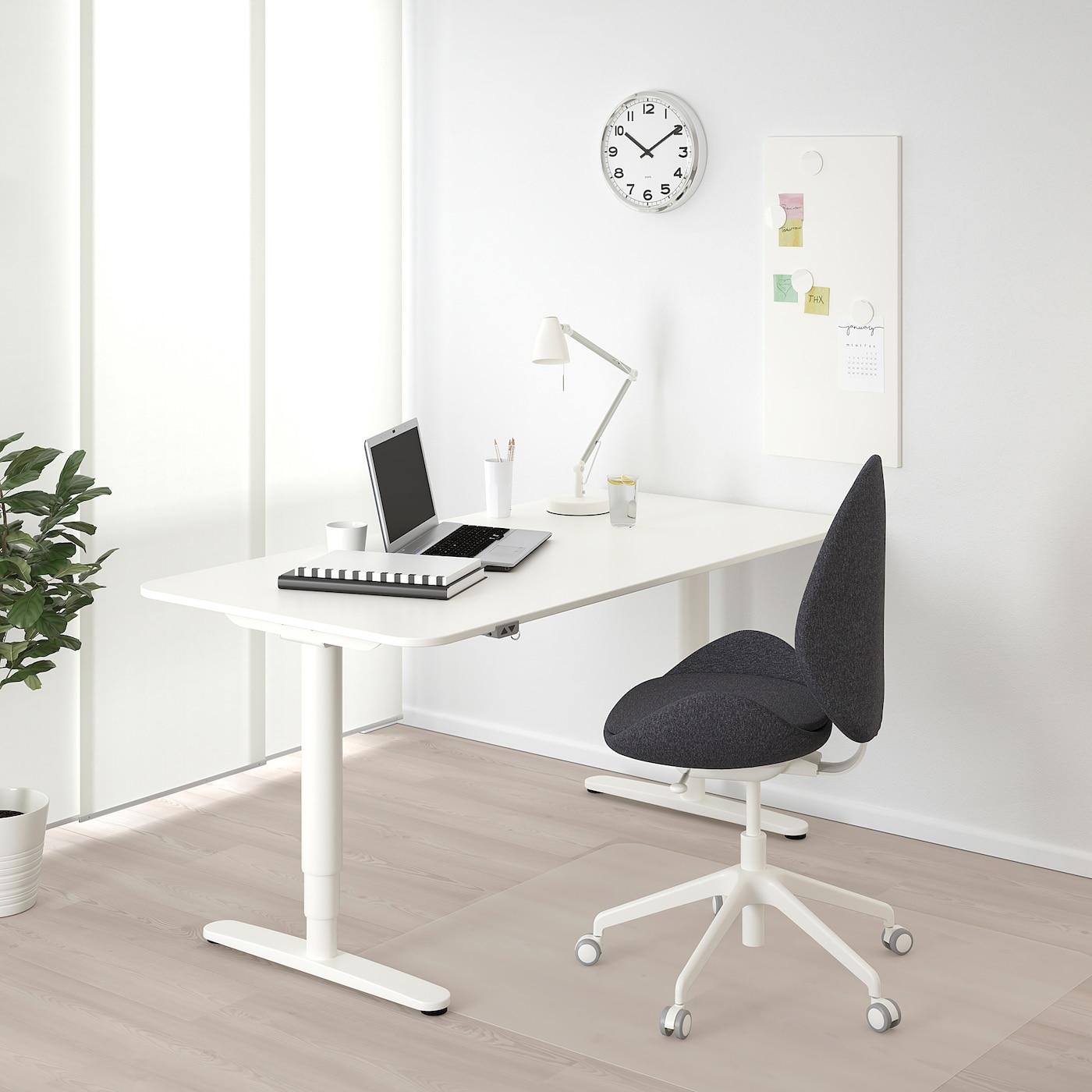 BEKANT Bureau zit/sta, wit, 160x80 cm