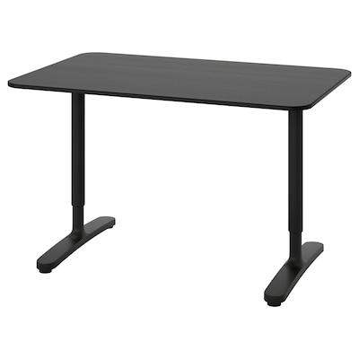 BEKANT Bureau, zwart gebeitst essenfineer/zwart, 120x80 cm