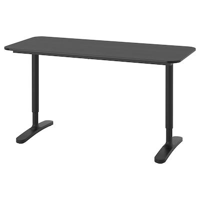 BEKANT Bureau, zwart gebeitst essenfineer/zwart, 140x60 cm