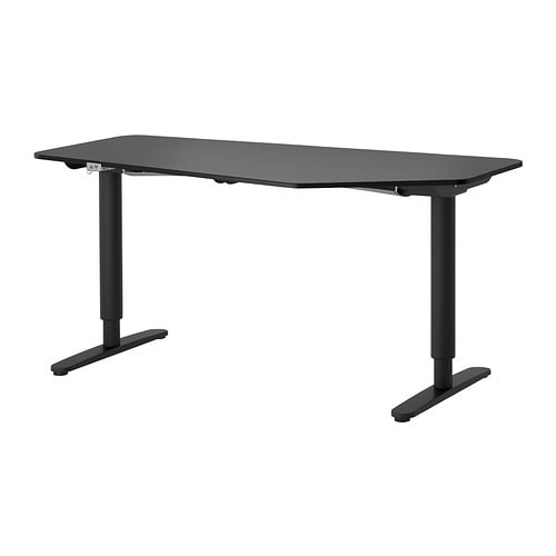 berkant 5-kantig bureau zit/sta, zwart