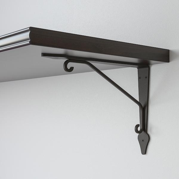 BERGSHULT / KROKSHULT Wandplank, bruinzwart/antraciet, 120x30 cm