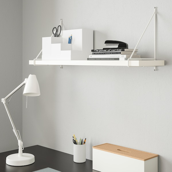 BERGSHULT / PERSHULT Wandplank, wit/wit, 80x20 cm