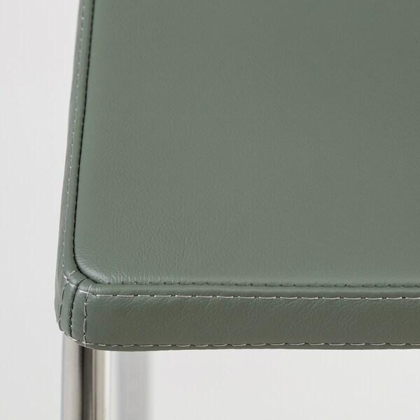 BERNHARD Barkruk met rugleuning, verchroomd/Mjuk groen, 66 cm