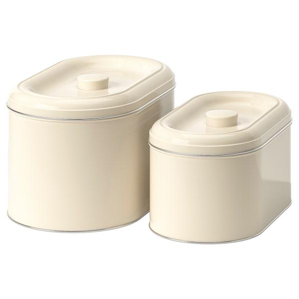 BERÖMLIG blik met deksel set van 2 beige