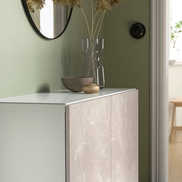 BESTÅ Bovenblad, glas wit, 120x40 cm