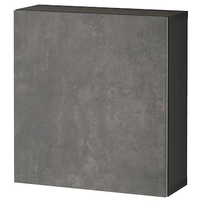 BESTÅ Kast met deur, zwartbruin/Kallviken donkergrijs, 60x22x64 cm