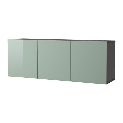 best kastencombinatie voor wandmontage zwartbruin selsviken hoogglans licht grijsgroen. Black Bedroom Furniture Sets. Home Design Ideas