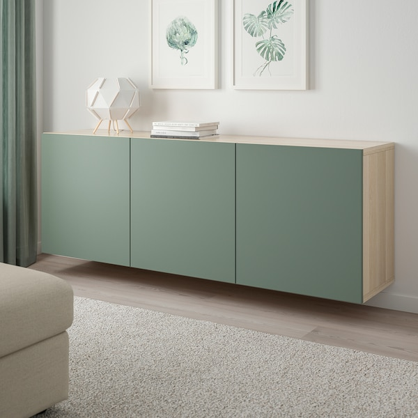BESTÅ Kastencombinatie voor wandmontage, wit gelazuurd eikeneffect/Notviken grijsgroen, 180x42x64 cm