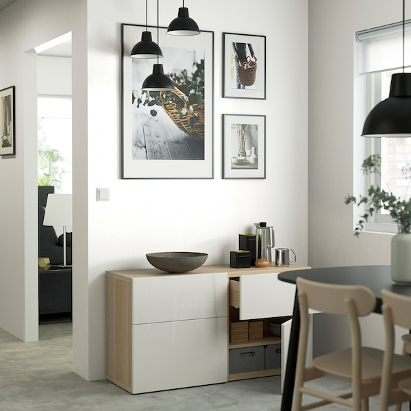 BESTÅ Opbergcombi met deuren/lades, wit gelazuurd eikeneffect/Selsviken hoogglans/wit, 120x42x65 cm