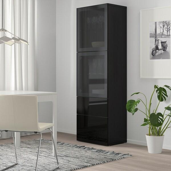 BESTÅ Opbergcombinatie met glazen deuren, zwartbruin/Selsviken hoogglans/zwart rookkleurig glas, 60x42x193 cm