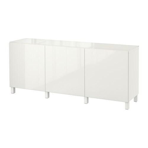 BESTÅ Opberger met deuren - wit/Selsviken hoogglans/wit - IKEA