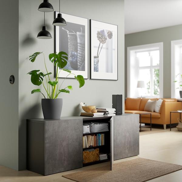 BESTÅ Opberger met deuren, zwartbruin Kallviken/donkergrijs betonpatroon, 180x42x65 cm
