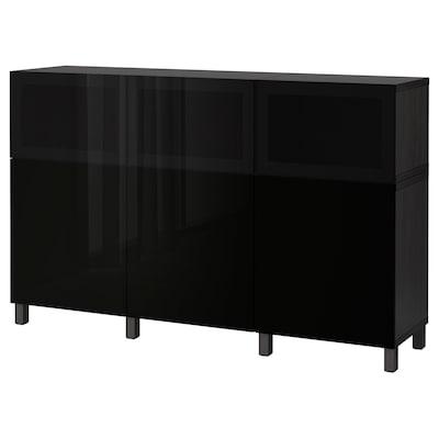 BESTÅ Opberger met deuren, zwartbruin Selsviken/Glassvik hoogglans/zwart rookkleurig glas, 180x42x112 cm