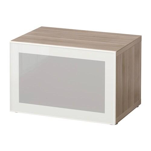 BESTÅ Open kast met vitrinedeur - grijs gelazuurd walnootpatroon ...
