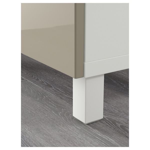 BESTÅ opberger met lades wit/Selsviken hoogglans/beige 180 cm 40 cm 74 cm