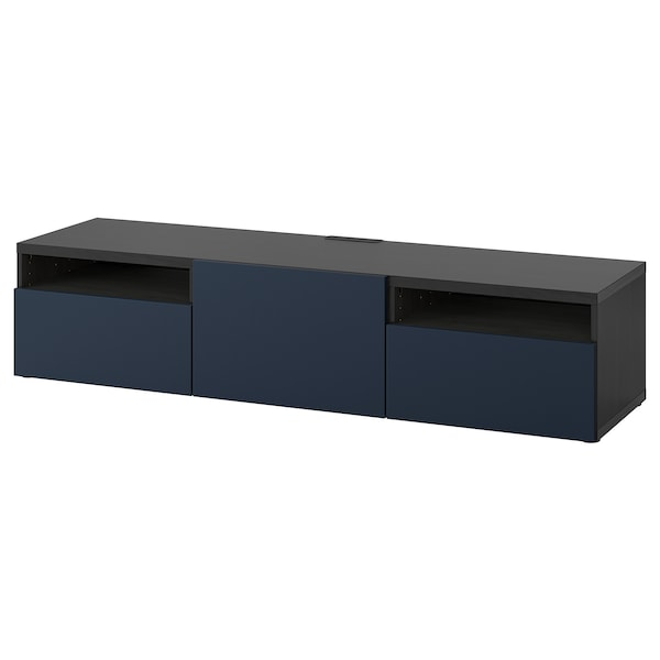 BESTÅ tv-meubel zwartbruin/Notviken blauw 180 cm 42 cm 39 cm 50 kg