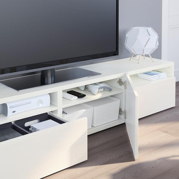 Tv Meubel Wand.Besta Tv Meubel Wit Selsviken Hoogglans Wit Ikea
