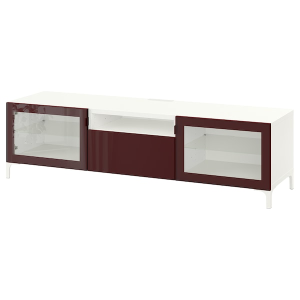 BESTÅ tv-meubel wit Selsviken/Nannarp/hoogglans donker roodbruin 180 cm 42 cm 48 cm 50 kg