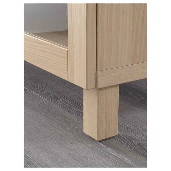 BESTÅ tv-meubel wit gelazuurd eikeneffect/Lappviken/Stubbarp wit gelazuurd eikenpatr helder glas 180 cm 42 cm 48 cm 50 kg