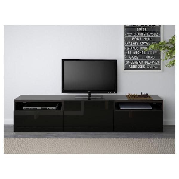 Tv Kast Ikea.Besta Tv Meubel Zwartbruin Selsviken Hoogglans Zwart Ikea
