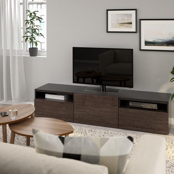 BESTÅ tv-meubel zwartbruin/Selsviken hoogglans/bruin 180 cm 42 cm 39 cm 50 kg