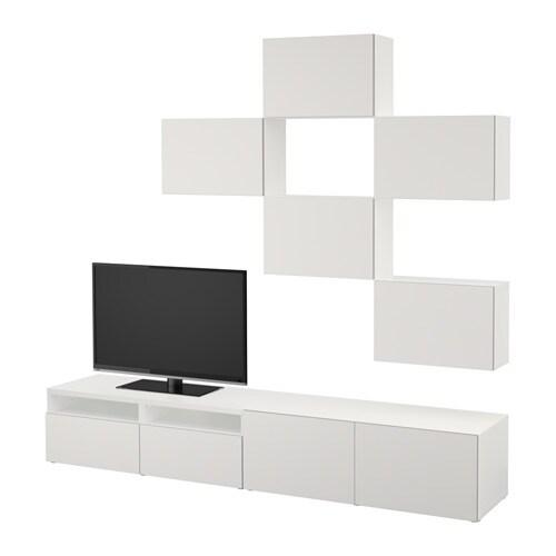 Best tv meubel combi wit lappviken lichtgrijs for Meuble tv 75 pouces ikea