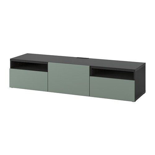 Ikea Tv Meubel Zwartbruin.Besta Tv Meubel Zwartbruin Notviken Grijsgroen