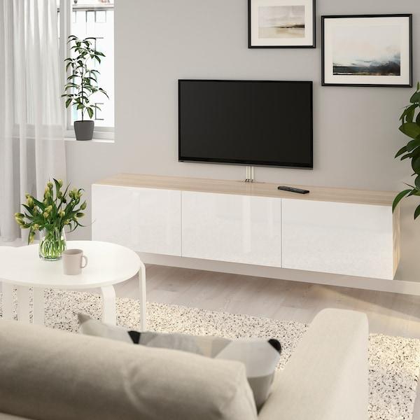 BESTÅ Tv-meubel met deuren, wit gelazuurd eikeneffect/Selsviken hoogglans/wit, 180x42x38 cm