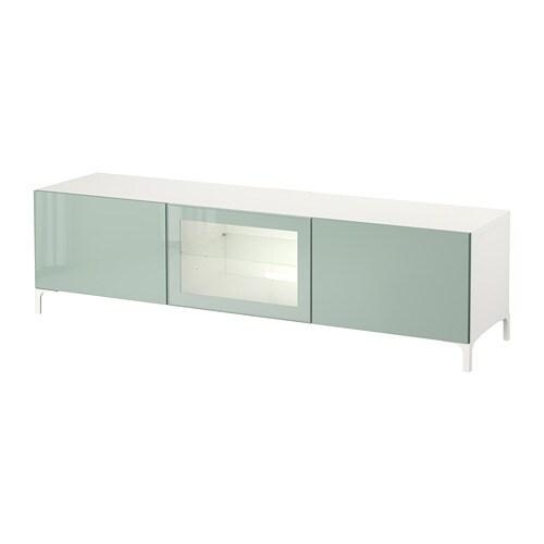 Ikea Glazen Tv Meubel.Besta Tv Meubel Met Lades En Deur Wit Selsviken Hoogglans Licht Grijsgroen Helder Glas
