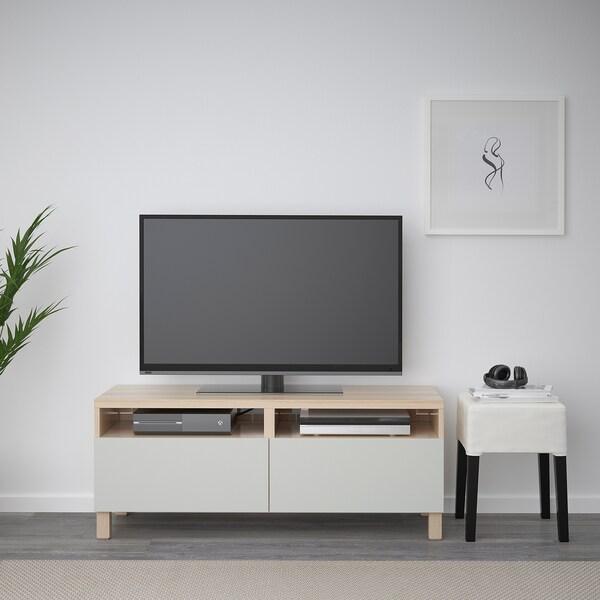 BESTÅ Tv-meubel met lades, wit gelazuurd eikeneffect/Lappviken/Stubbarp lichtgrijs, 120x42x48 cm