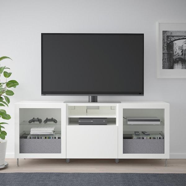 BESTÅ Tv-meubel met lades, wit/Lappviken/Stallarp wit helder glas, 180x42x74 cm