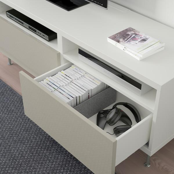 BESTÅ Tv-meubel met lades, wit/Selsviken/Stallarp hoogglans/beige, 120x42x48 cm