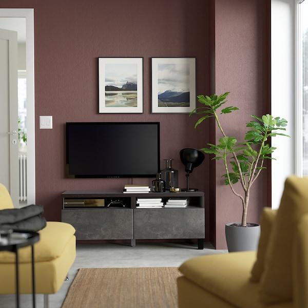 BESTÅ Tv-meubel met lades, zwartbruin/Kallviken/Stubbarp donkergrijs, 120x42x48 cm