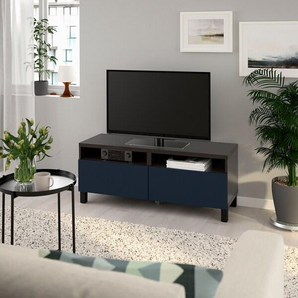 BESTÅ Tv-meubel met lades, zwartbruin/Notviken/Stubbarp blauw, 120x42x48 cm