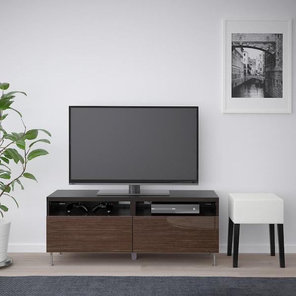 BESTÅ Tv-meubel met lades, zwartbruin/Selsviken/Stallarp hoogglans/bruin, 120x42x48 cm