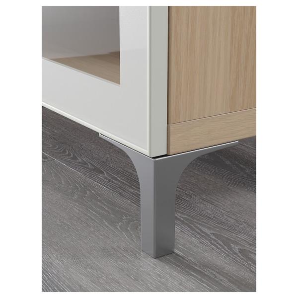 BESTÅ Tv-meubel, wit gelazuurd eikeneffect/Selsviken/Nannarp hoogglans/wit helder glas, 180x42x48 cm