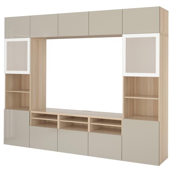 BESTÅ Tv-opbergcombi/vitrinedeuren, wit gelazuurd eikeneffect/Selsviken hoogglans/beige frosted glas, 300x40x230 cm