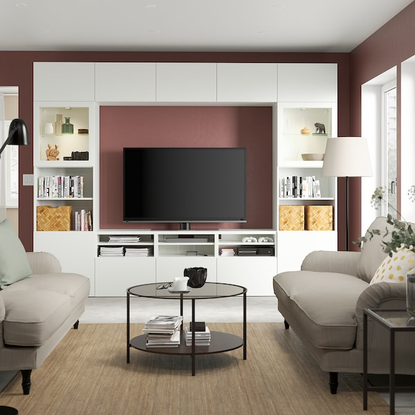 BESTÅ Tv-opbergcombi/vitrinedeuren, wit/Lappviken wit helder glas, 300x42x231 cm