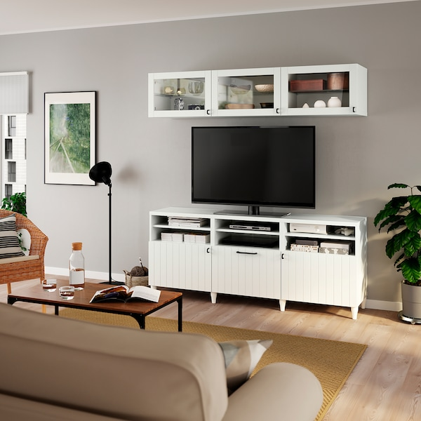 BESTÅ Tv-opbergcombi/vitrinedeuren, wit/Sutterviken/Kabbarp wit helder glas, 180x42x192 cm
