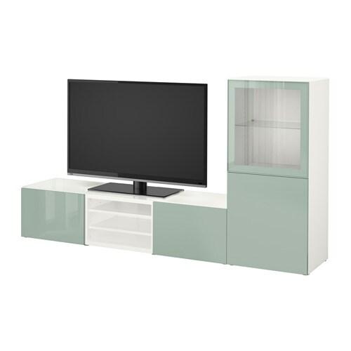 Grijsgroene hooggglans tv-meubel, BESTÅ