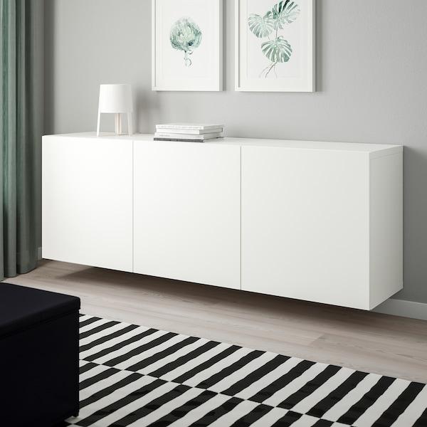 BESTÅ kastencombinatie voor wandmontage wit/Lappviken wit 180 cm 42 cm 64 cm