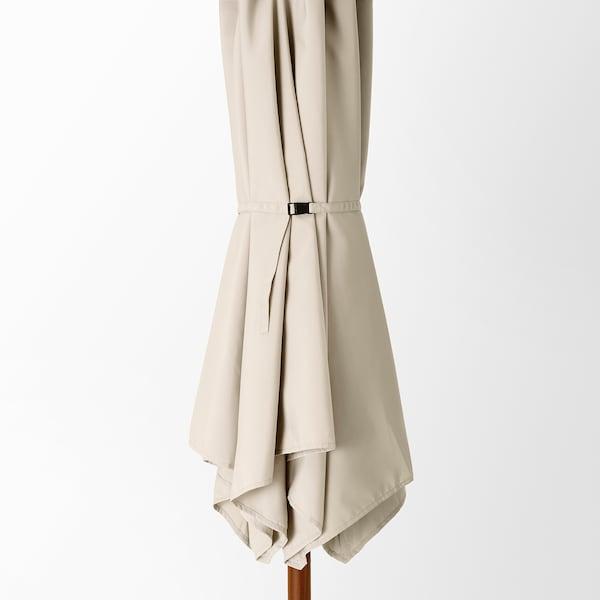 BETSÖ / LINDÖJA Parasol, bruin houteffect/beige, 300 cm