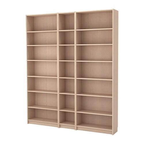 BILLY Boekenkast met verhogingsdelen - wit gelazuurd eikenfineer - IKEA