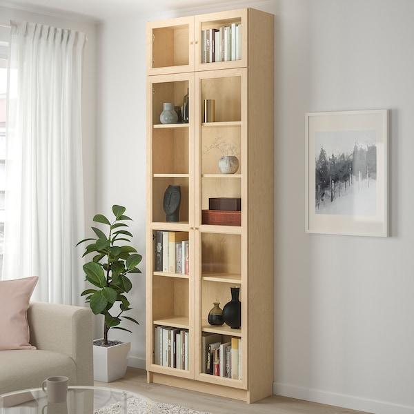 BILLY / OXBERG Boekenkast, berkenfineer, 80x30x237 cm