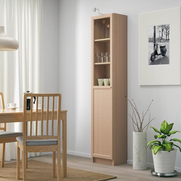 BILLY / OXBERG Boekenkast paneel-/vitrinedeur, wit gelazuurd eikenfineer/glas, 40x30x202 cm