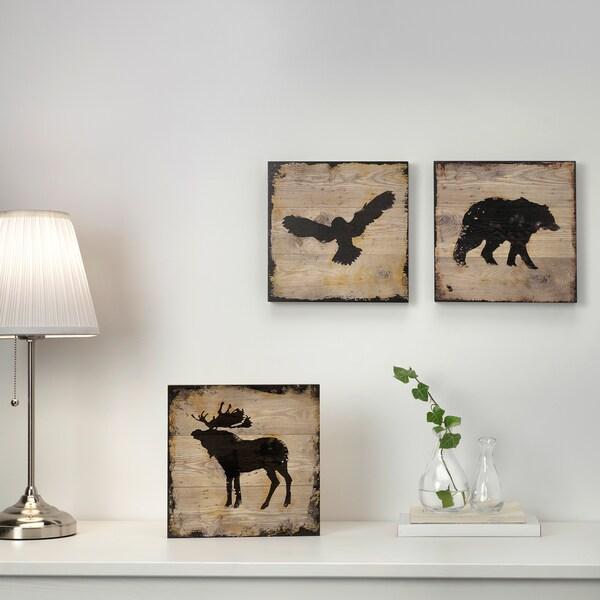 BJÖRNAMO afbeelding zonder lijst set v 3 dieren 25 cm 25 cm