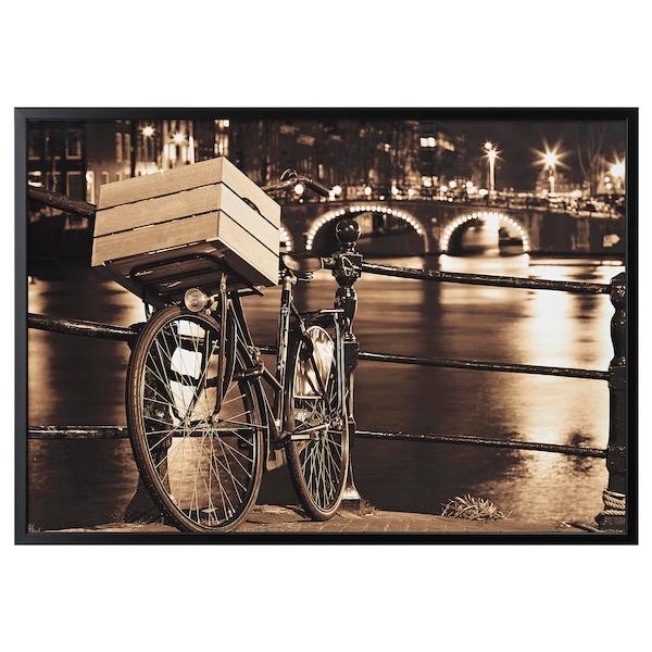 BJÖRKSTA Foto met lijst, Fiets in Amsterdam/zwart, 140x100 cm